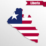 Liberia map with flag inside and ribbon Royalty Free Stock Photo