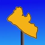 Liberia map warning sign Royalty Free Stock Photo