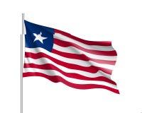 Liberia realistyczna flaga Obrazy Royalty Free