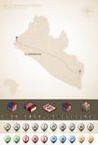 Liberia. Republic of Liberia and Africa maps, plus extra set of isometric icons & cartography symbols set (part of the World Maps Set Royalty Free Stock Image