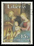 Painting Adoration of the Magi. Liberia - stamp 1983: Color edition on Christmas Art, shows Painting Adoration of the Magi Stock Image