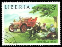 Old cars, Cadillac Model A. Liberia - stamp printed in1973, Series Old cars, Cadillac Model A, 1903 Stock Photography