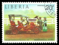 Maxwell Gentleman Speedster. Liberia - stamp printed in1973, Series Old cars, Maxwell Gentleman Speedster, 1905 Royalty Free Stock Images