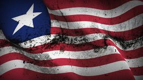 Liberia grunge dirty flag waving on wind. Liberian background fullscreen grease flag blowing on wind. Realistic filth fabric texture on windy day Stock Photos
