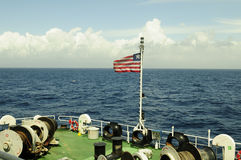 Liberian Flag on the tanker crude oil carrier ship Stock Photography