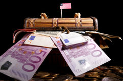 Liberian flag on top of crate full. Of money Stock Image