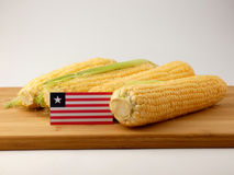 Liberian flag on a wooden panel with corn isolated on a white ba. Ckground Royalty Free Stock Images