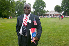 Liberian immigrant. And 76 new American citizens at Independence Day Naturalization Ceremony on July 4, 2005 at Thomas Jefferson's home, Monticello Stock Photo