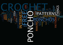 Libero lavori all'uncinetto il concetto di Poncho Text Background Word Cloud Fotografia Stock Libera da Diritti