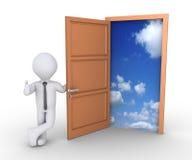 Libertà d'offerta dell'uomo d'affari attraverso la porta Fotografie Stock Libere da Diritti