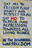 Libertà dei graffiti del muro di Berlino Fotografia Stock Libera da Diritti