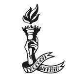 Libertà dentro: progettazione fresca del tatuaggio della torcia di libertà della tenuta della mano Immagini Stock