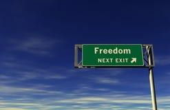 Libertà - segno dell'uscita di autostrada senza pedaggio Fotografia Stock