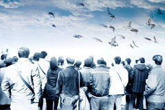 Liberté de vue de dos d'assistance de foule Photo libre de droits