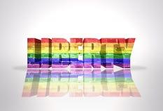 Liberté de Word avec le drapeau d'homosexuel d'arc-en-ciel Photographie stock