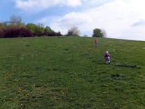 Liberté, enfants courant à travers une colline verte Images stock