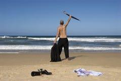 Liberté supérieure de retraite d'homme d'affaires, vacances de plage, l'espace de copie Photo libre de droits