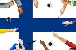 Libertà finlandese Liberty Concept di governo della bandiera nazionale Immagine Stock