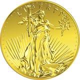 Libertad americana de la moneda de oro del dinero del vector Fotografía de archivo libre de regalías