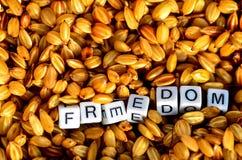 Libertad en granos orgánicos del arroz Imagen de archivo libre de regalías