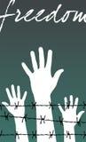 Libertad: manos detrás de una prisión del alambre de púas Foto de archivo