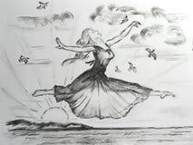 Libertad Técnica dibujada mano del carbono foto de archivo