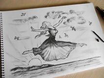Libertad Técnica dibujada mano del carbono imágenes de archivo libres de regalías