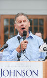 Libertarian presidential candidate Gary Johnson speaks in Concord, New Hampshire, on August 25, 2016. Royalty Free Stock Photos