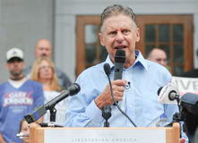 Libertarian presidential candidate Gary Johnson speaks in Concord, New Hampshire, on August 25, 2016. Stock Photography