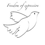 Liberte1. A dove flying, for the concept of freedom expression Royalty Free Stock Image