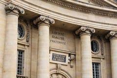 Liberte egalite fraternite on building in Paris Royalty Free Stock Photos