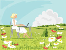Liberty. A hand drawn illustration of a woman with a laptop computer in a field full of daisies with hedgerows and a blue summer sky Stock Image