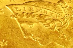 Liberty. Head detail from a US five dollar gold coin Royalty Free Stock Image