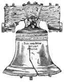 Liberty Bell. Pencil hand drawing of the Philadelphia Liberty Bell with saved clipping path Royalty Free Stock Photo