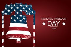 The Liberty Bell as symbols of freedom and justice for National freedom day. Poster or banners –  on  National Freedom Day!. February 1st. USA flag as Royalty Free Stock Photography