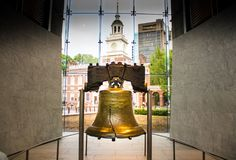 The Liberty Bell - an iconic symbol of American independence, located in Philadelphia, Pennsylvania, USA. The iconic Liberty Bell in all it`s glory stock photo