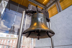 Liberty Bell. Old symbol of American freedom in Independence Mall building in Philadelphia Pennsylvania stock image
