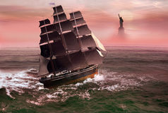 Liberty boat. Sailboat with immigrants on board, arriving the US coast, approaching liberty island stock illustration
