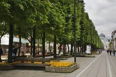Liberty boulevard - Laisvės aleja in Kaunas. Lithuania Stock Photos