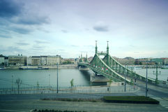 Liberty Bridge à Budapest, Hongrie Photos stock