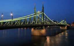 Liberty bridge, Budapest. The renewed Liberty bridge  by night in Budapest Stock Photos