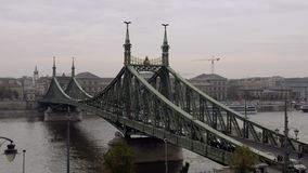 The Liberty Bridge in Budapest stock video