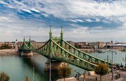 The Liberty bridge in Budapest. stock photo