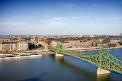 Liberty Bridge and Budapest Cityscape Royalty Free Stock Images