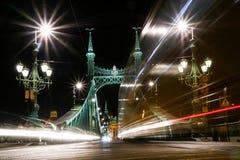 Liberty bridge in Budapest in Hungary stock photos