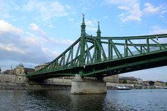 Liberty Bridge. Of Budapest, Hungary with the river Danube Stock Photo