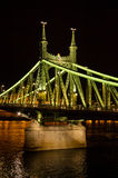 Liberty Bridge in Budapest during the night, Hungary Stock Images