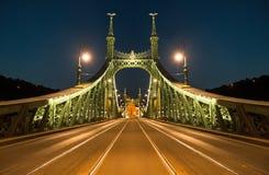 Liberty Bridge in Budapest by night Stock Image