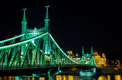 Liberty Bridge in Budapest at night, Hungary. Pest side of the city Stock Photography
