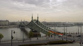 The Liberty Bridge in Budapest stock footage